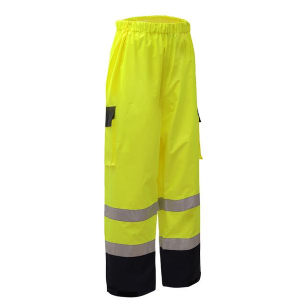 GSS Class E Hi Vis Lime Rain Pants with Black Bottom 6803 Right Side