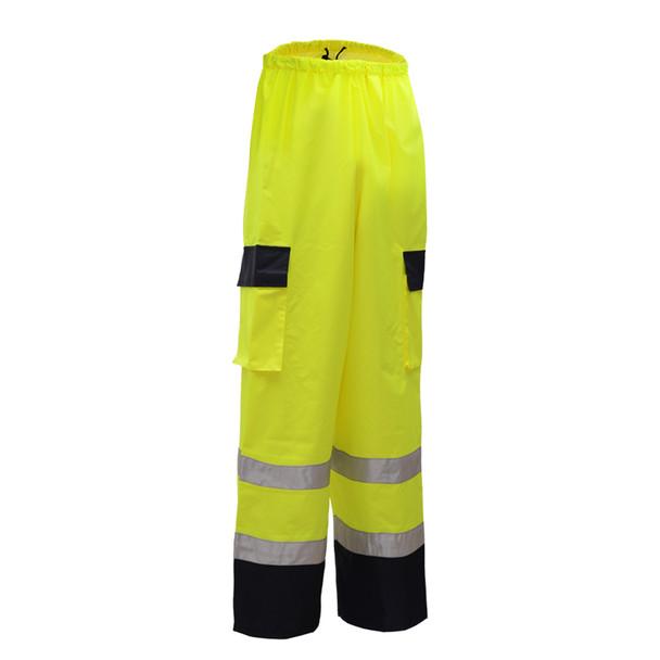GSS Class E Hi Vis Lime Rain Pants with Black Bottom 6803 Back