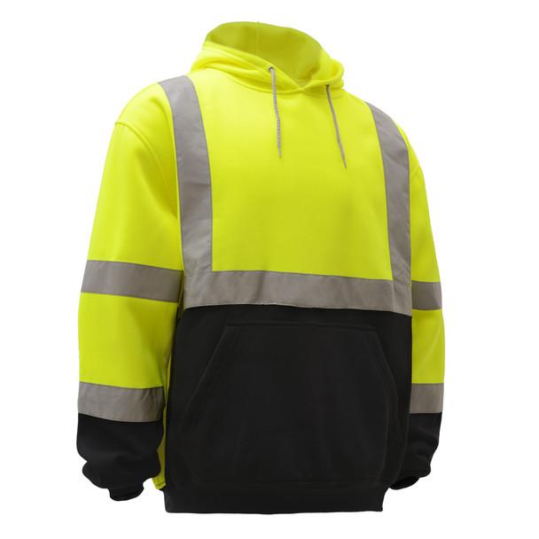 GSS Class 3 Hi Vis Lime Fleece Hooded Black Bottom Sweatshirt 7001 Right Side