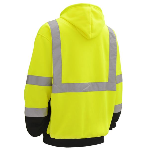 GSS Class 3 Hi Vis Lime Fleece Hooded Black Bottom Sweatshirt 7001 Back