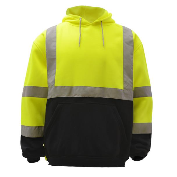 GSS Class 3 Hi Vis Lime Fleece Hooded Black Bottom Sweatshirt 7001 Front