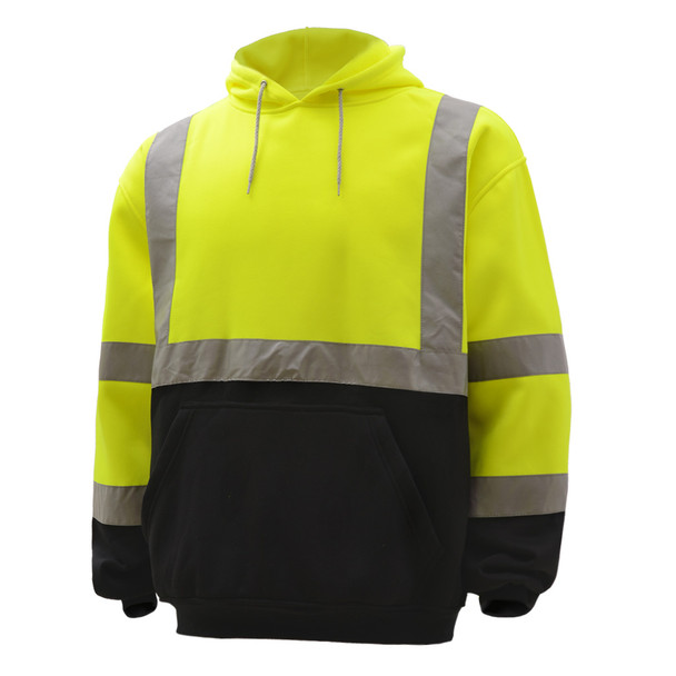 GSS Class 3 Hi Vis Lime Fleece Hooded Black Bottom Sweatshirt 7001 Left Side