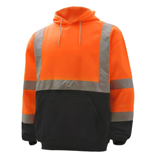 GSS Class 3 Hi Vis Orange Fleece Hooded Black Bottom Sweatshirt 7002 Left Front