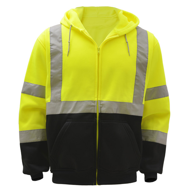 GSS Class 3 Hi Vis Lime Fleece Hooded Sweatshirt with Zipper and Black Bottom 7003 Front