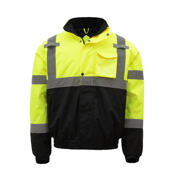 GSS Class 3 Hi Vis Lime Winter Bomber Jacket with Quilt Lining 8001 Front