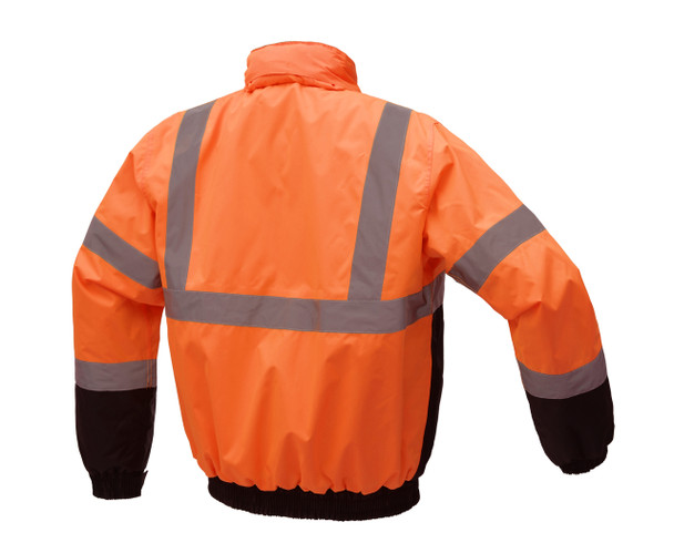 GSS Class 3 Hi Vis Orange Winter Bomber Jacket with Quilt Lining 8002 Back