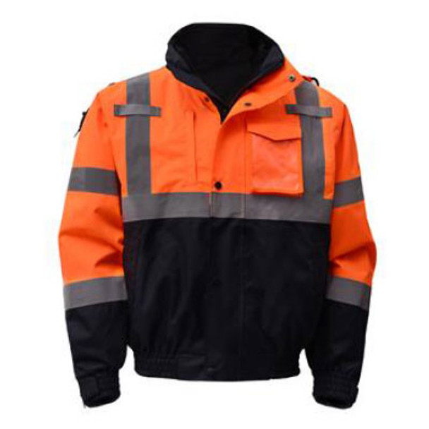 GSS Class 3 Hi Vis Orange 3-in-1 Jacket with Ripstop Bottom 8004 Front