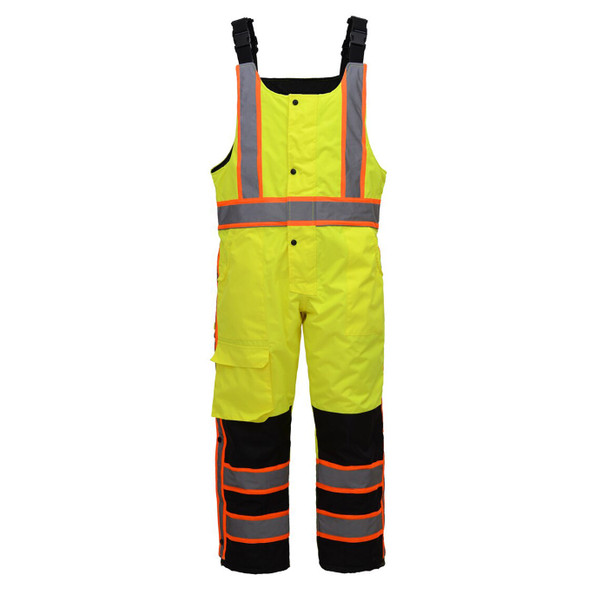 GSS Class E Hi Vis Lime 2 Tone Trim Heavy Weight Insulated Winter Bib 8701 Front