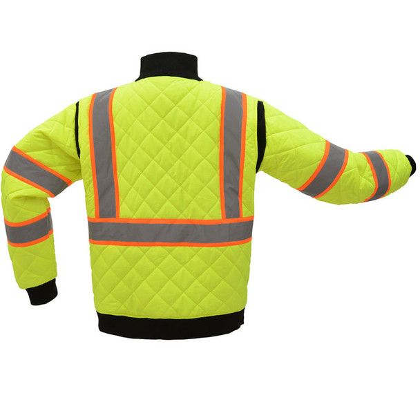 GSS Class 3 Hi Vis Lime 2 Tone Trim Quilted Jacket 8007 Back