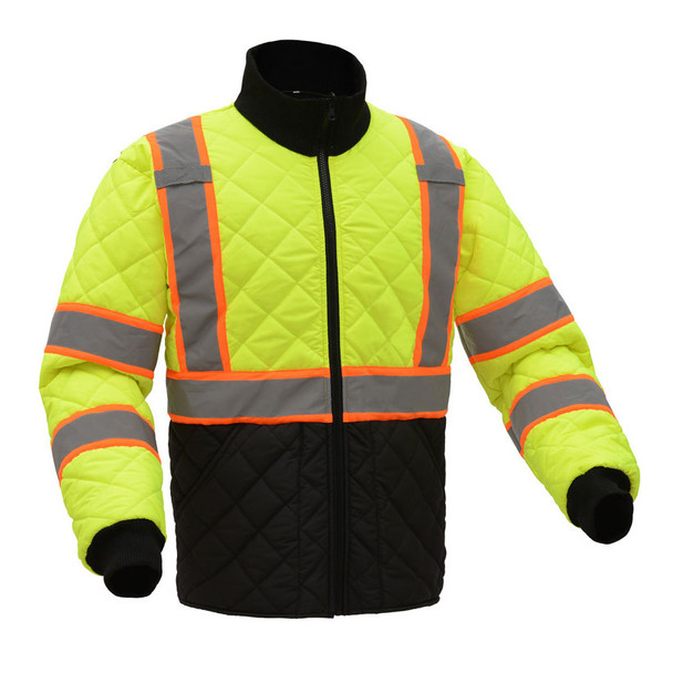 GSS Class 3 Hi Vis Lime 2 Tone Trim Quilted Jacket 8007 Side