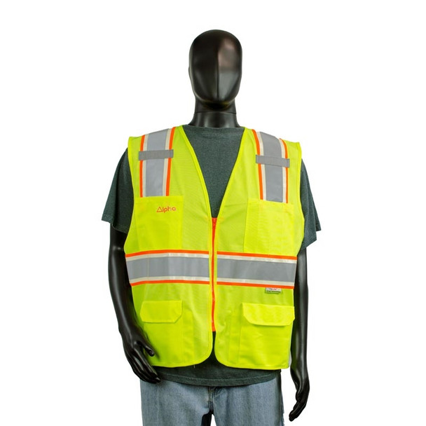 Alpha Workwear Class 2 Hi Vis Glow in the Dark Surveyor Vest A202 Front