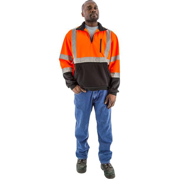 Majestic Hi Vis Class 3 Black Bottom Orange Pullover Sweatshirt with Zip 75-5336