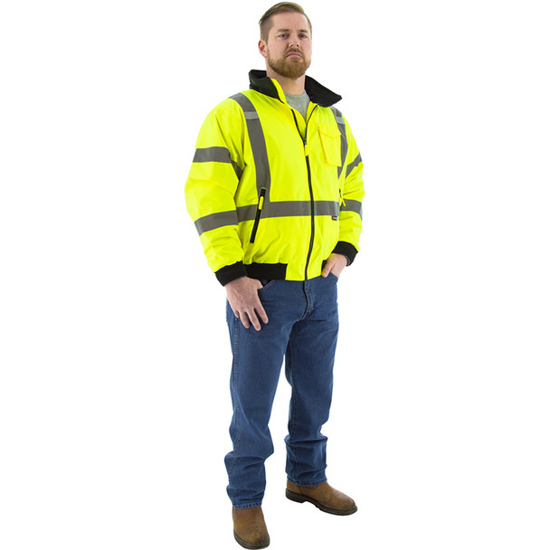 Majestic Hi Vis Class 3 Yellow Bomber Jacket with Reflective X-Back 75-1331 Full Size