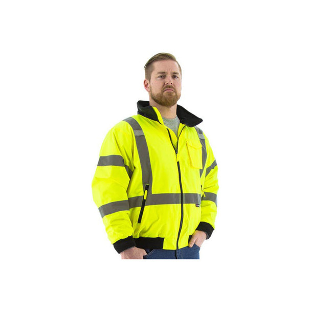 Majestic Hi Vis Class 3 Yellow Bomber Jacket with Reflective X-Back 75-1331 Close Up