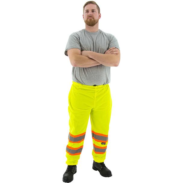 Majestic Hi Vis Class E Yellow Mesh Pants with DOT Striping 75-2501