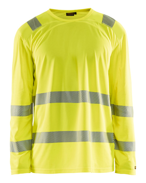 Blaklader Class 3 Hi Vis Yellow LS T-Shirt with UV 40 Protection 348810113300 Front