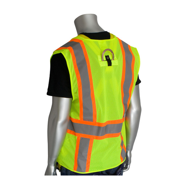 PIP Class 2 Hi Vis Two-Tone Yellow Mesh Vest with D-Ring Access 302-0600D Yellow Back