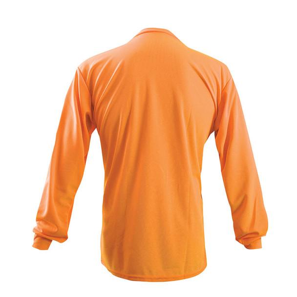 Occunomix Non-ANSI Hi Vis Moisture Wicking LS T-Shirt with UPF 30 Protection LUX-XLSPB Orange Back