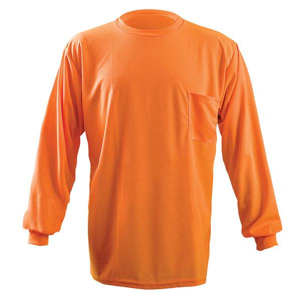 Occunomix Non-ANSI Hi Vis Moisture Wicking LS T-Shirt with UPF 30 Protection LUX-XLSPB Orange Front