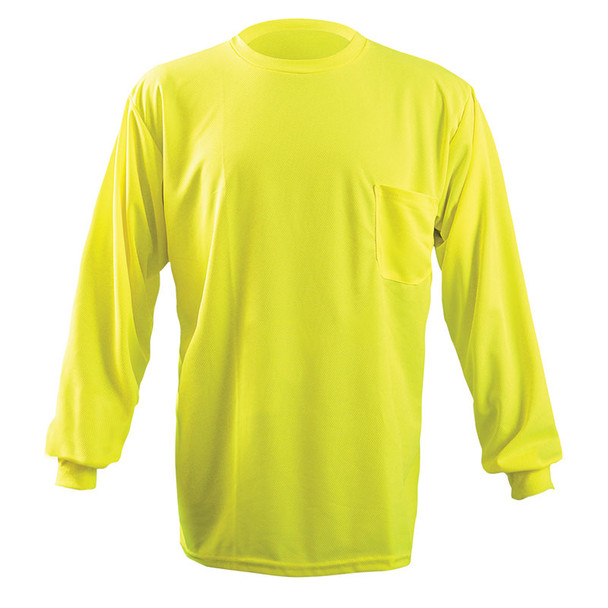 Occunomix Non-ANSI Hi Vis Moisture Wicking LS T-Shirt with UPF 30 Protection LUX-XLSPB Yellow Front