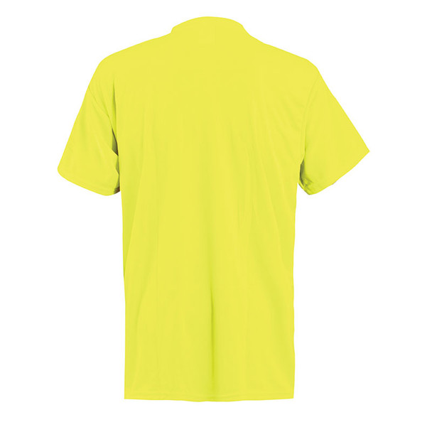 Occunomix Non-ANSI Hi Vis Moisture Wicking T-Shirt 30 UPF Protection LUX-XSSPB Yellow Back