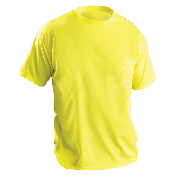 Occunomix Non-ANSI Hi Vis Moisture Wicking T-Shirt 30 UPF Protection LUX-XSSPB Yellow Front