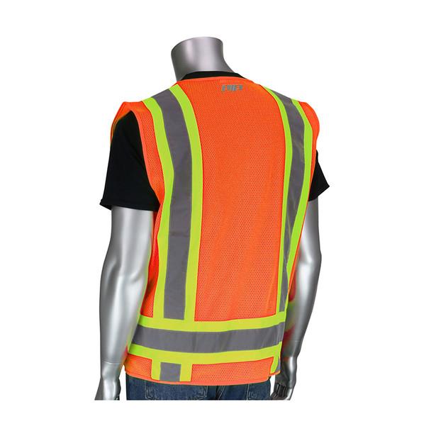 PIP Class 2 Hi Vis Two-Tone 11 Pocket Surveyors Vest 302-0500 Orange Back