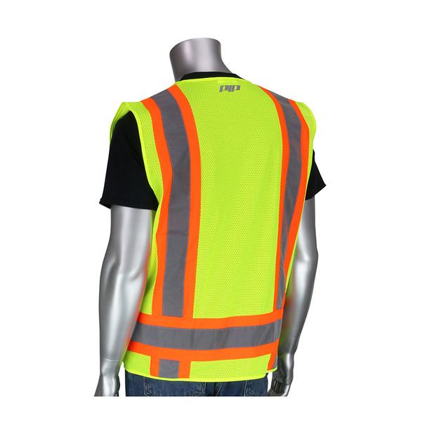 PIP Class 2 Hi Vis Two-Tone 11 Pocket Surveyors Vest 302-0500 Yellow Back