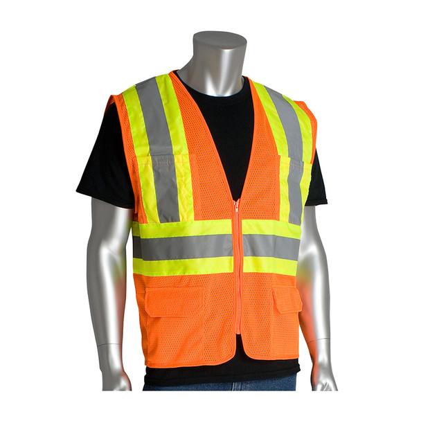 PIP Class 2 Hi Vis Two-Tone 6 Pocket Mesh Safety Vest 302-MVZP