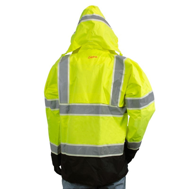 Alpha Workwear Class 3 Hi Vis Illuminated Glowing Hi Vis Rain Jacket A268 Back