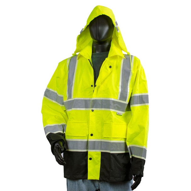 Alpha Workwear Class 3 Hi Vis Illuminated Glowing Hi Vis Rain Jacket A268 with Hood