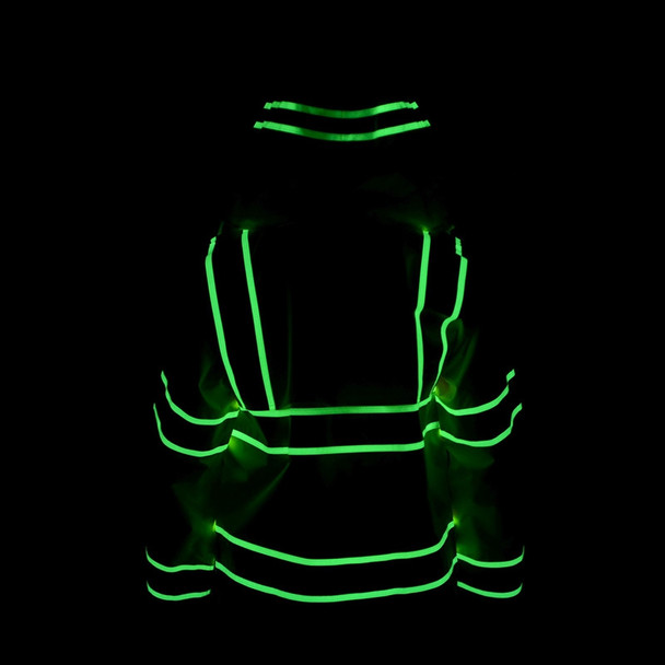 Alpha Workwear Class 3 Hi Vis Illuminated Glowing Hi Vis Rain Jacket A268 Illuminated Back