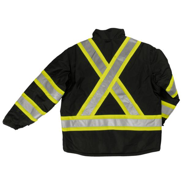 Work King Safety Class 1 Enhanced Vis Black X-Back 5-in-1 Jacket S426-BLK Back