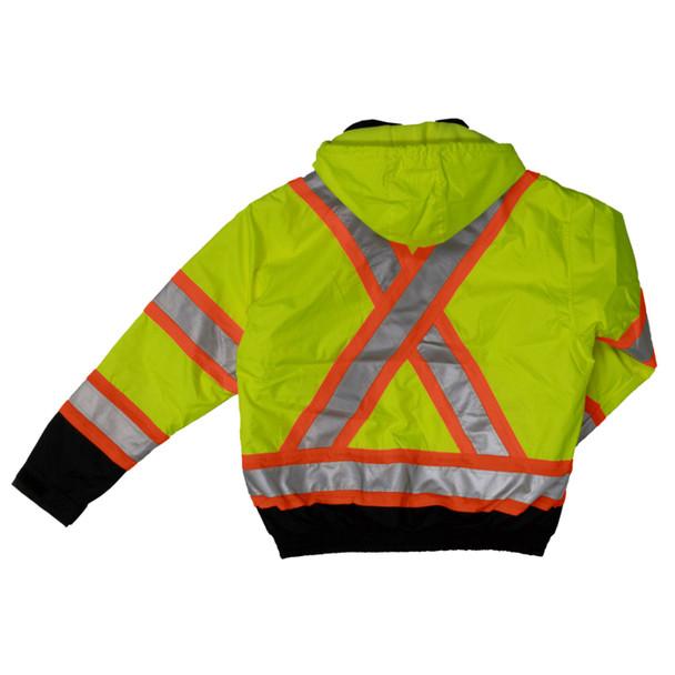 Work King Safety Class 3 Hi Vis X-Back Black Bottom Trim Bomber Jacket S413 Fluorescent Green Back