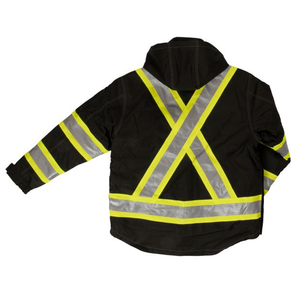 Work King Safety Enhanced Vis X-Back 4-in-1 Black Ripstop Jacket S187-BLK Back