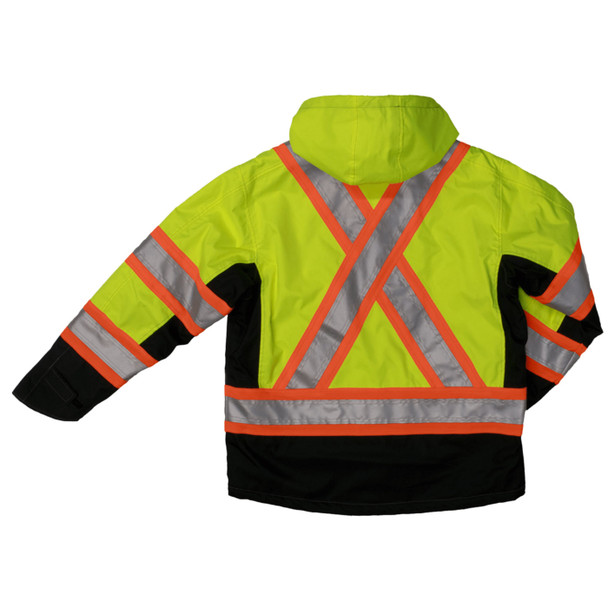Work King Safety Class 3 Hi Vis X-Back Black Bottom Trim Waterproof Jacket S245 Florescent Green