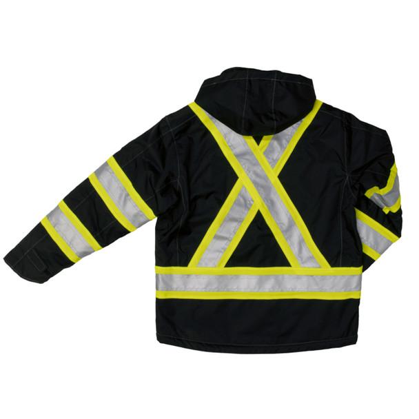 Work King Safety Enhanced Vis X-Back Black Waterproof Jacket S245-BLK Back