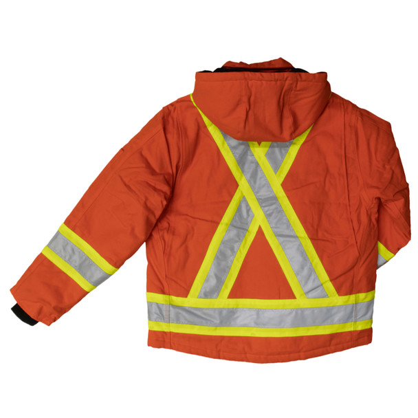 Work King Safety Class 1 Hi Vis Two-Tone X-Back Orange Cotton Duck Jacket S457 Back