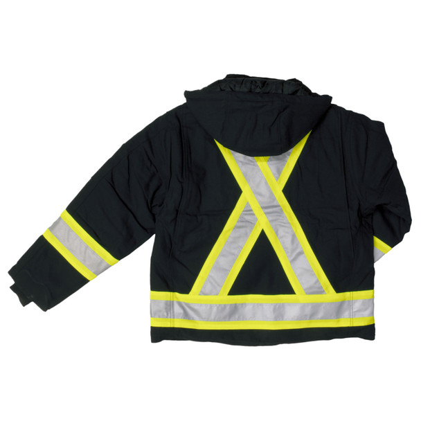 Work King Safety Class 1 Hi Vis Black Two-Tone X-Back Cotton Duck Jacket S457-BLK Back