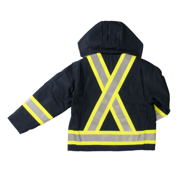 Work King Safety Class 1 Hi Vis Two-Tone X-Back Navy Cotton Duck Jacket S457-NVY Back