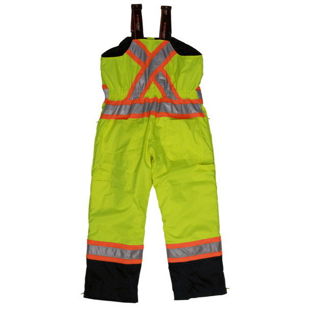 Work King Safety Class E Hi Vis Two-Tone X-Back Lined Overalls S798FLGR Fluorescent Green Back
