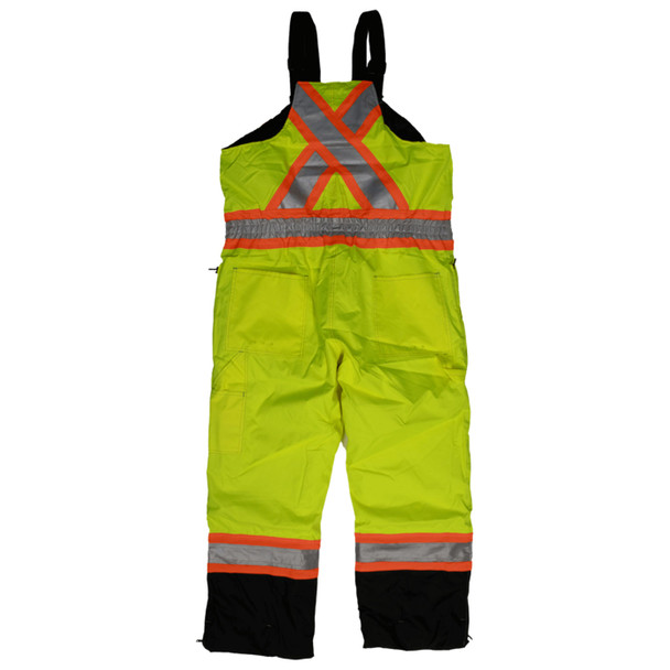 Work King Safety Class E Hi Vis Two-Tone X-Back Waterproof Insulated Overalls S876 Fluorescent Green