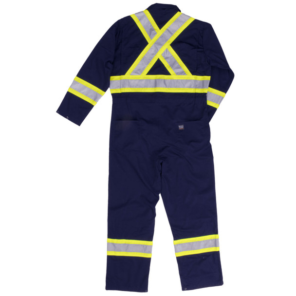 Work King Safety Non-ANSI Hi Vis X-Back Two-Tone Navy Lined Coveralls S787-NVY Back