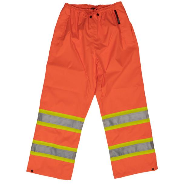 Work King Safety Class E Hi Vis Two-Tone Rain Pants S374 Fluorescent Orange Front