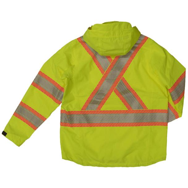 Work King Safety Class 3 Hi Vis Segmented Two-Tone X-Back Rain Jacket SJ05 Fluorescent Green Back
