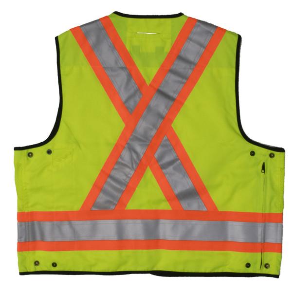 Work King Safety Class 2 Hi Vis Two-Tone X-Back Surveyor Safety Vest S313 Fluorescent Green Back