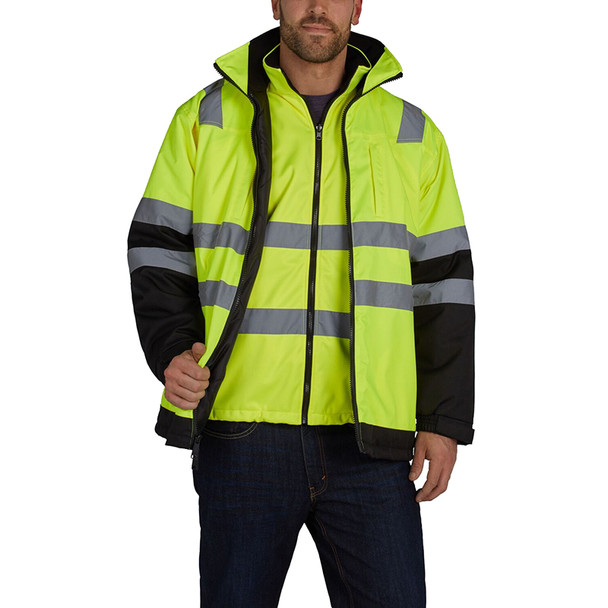 Utility Pro Class 3 Hi Vis Yellow 3-in-1 Jacket UHV821 Front