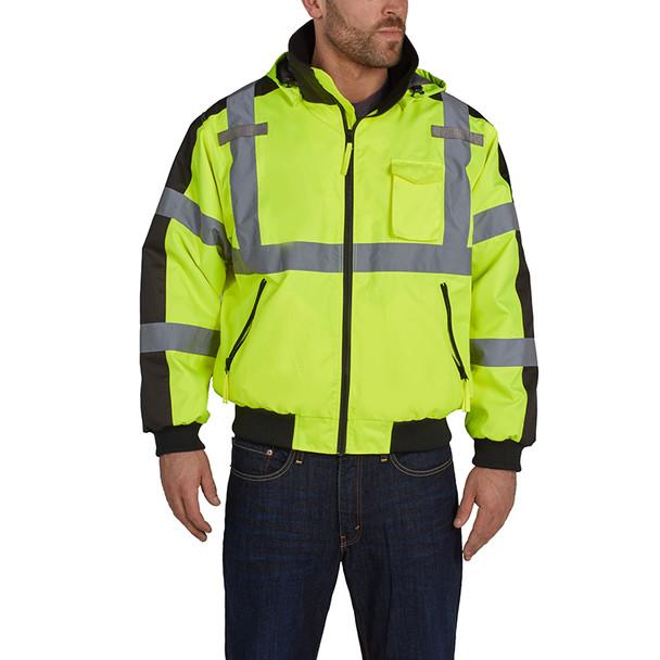 Utility Pro Class 3 Hi Vis Yellow Waterproof 3 Season Jacket UHV575 Front