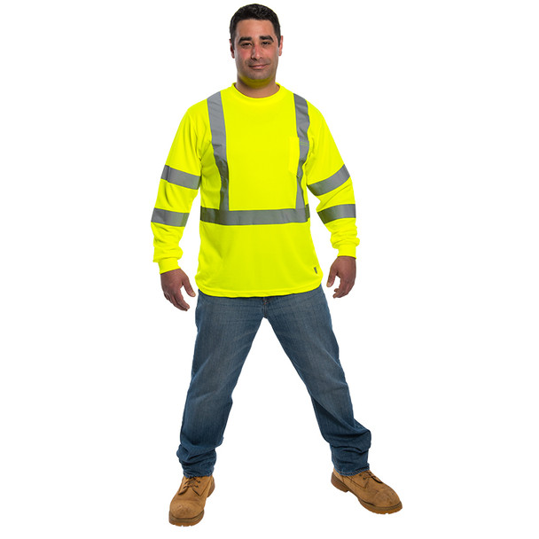 Utility Pro Class 3 Hi Vis Yellow Moisture Wicking Long Sleeve T-Shirt UHV403