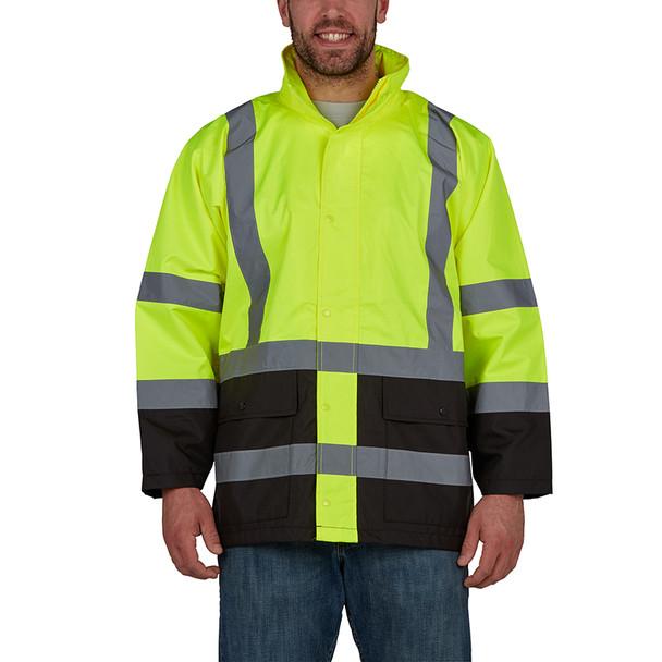Utility Pro Class 3 Hi Vis Yellow Economy Rain Jacket with Teflon Protector UHV822 Front